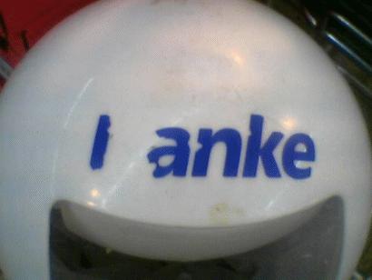 """Mülleimer mit der Aufschrift """"I anke"""""""