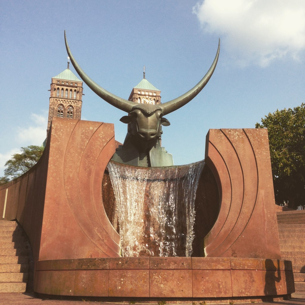 Instead of a picture of my parents here is a picture of the bull fountain in Pirmasens, near the small town I grew up.