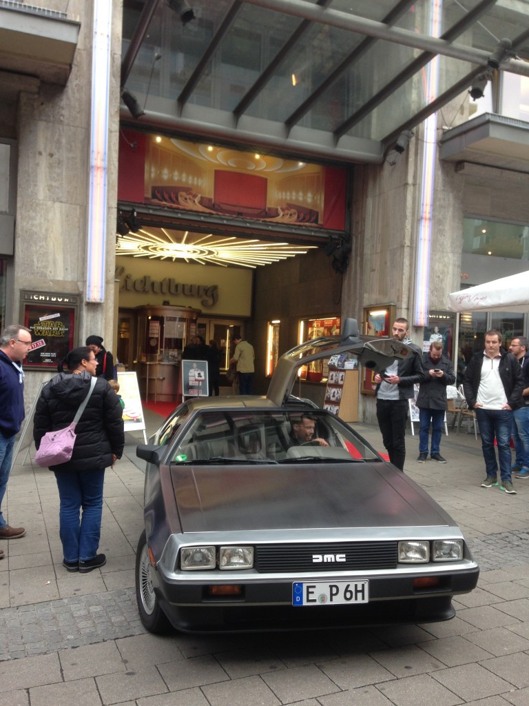 DeLorean in Front of the Cinema
