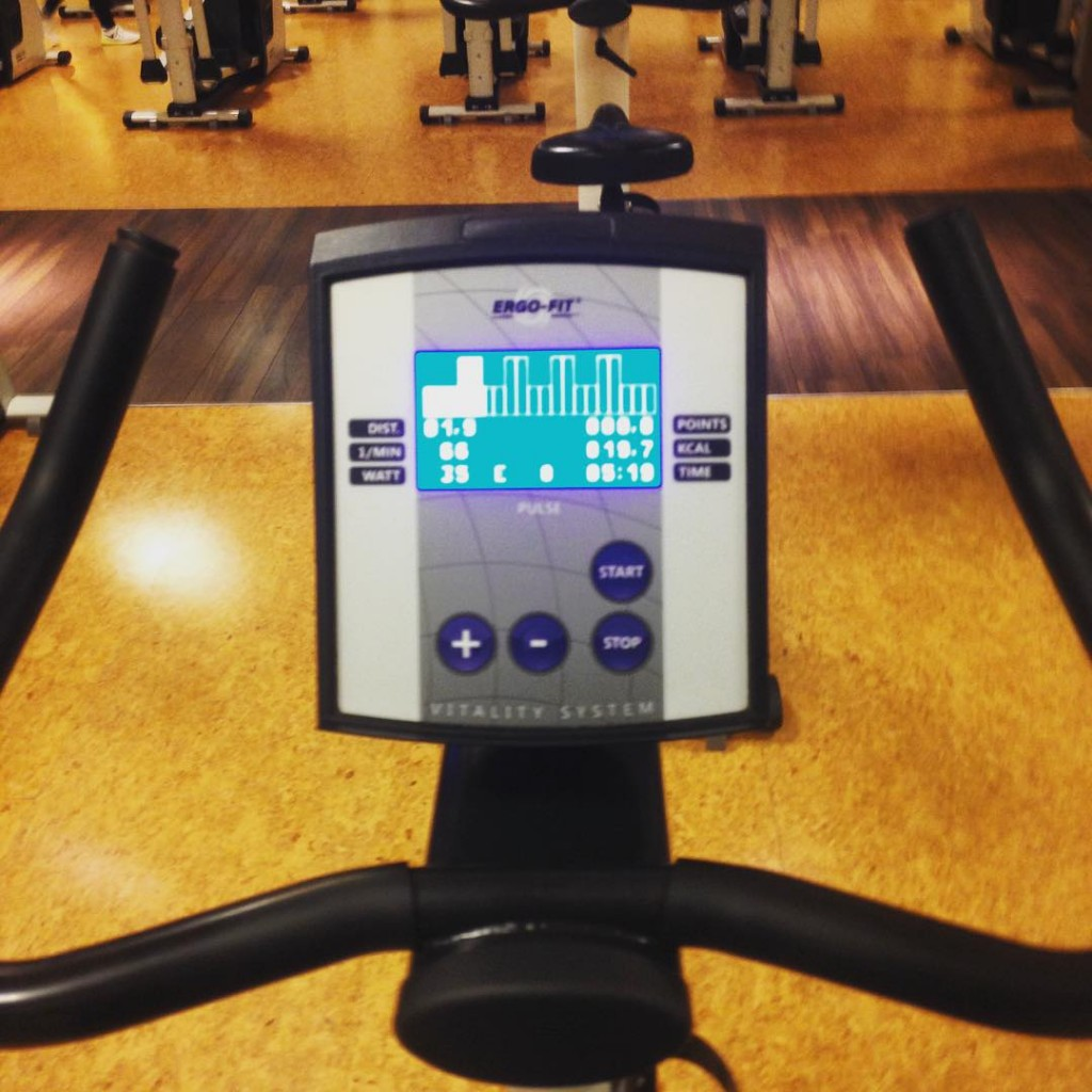 View on the display of a cycling device in a gym